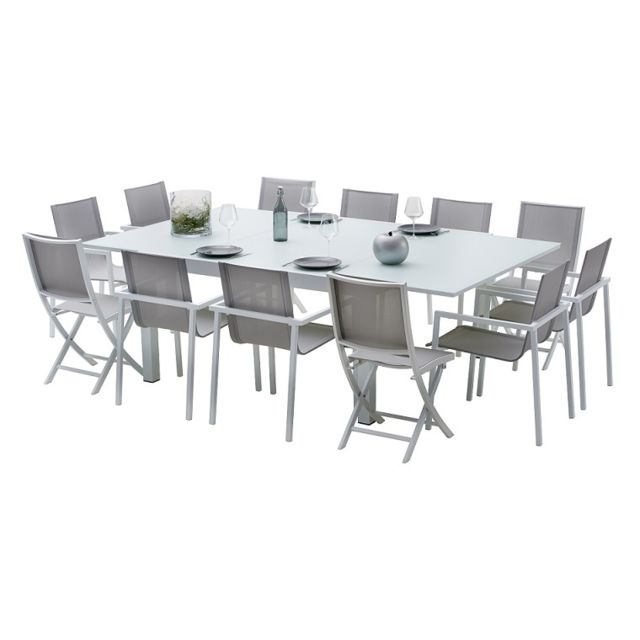 Wilsa - Salon De Jardin Aluminium Blanc Whitestar Carree 12 Places ...