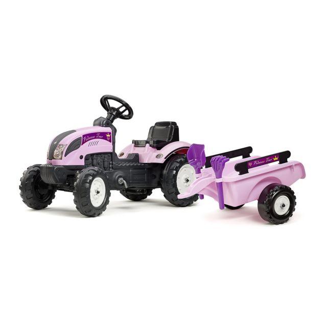 Falk tracteur enfant princess trac remorque accessoires pas cher achat vente voitures - Tracteur remorque enfant ...