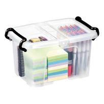 Cep - Boîte de rangement plastique 6 L Strata translucide - Lot de 5