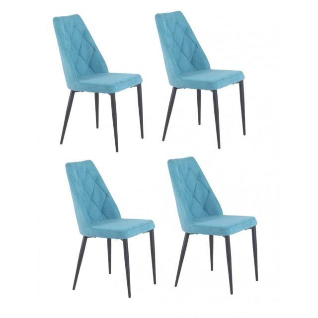 Lot de 4 chaises tissu bleu capitonné Rita