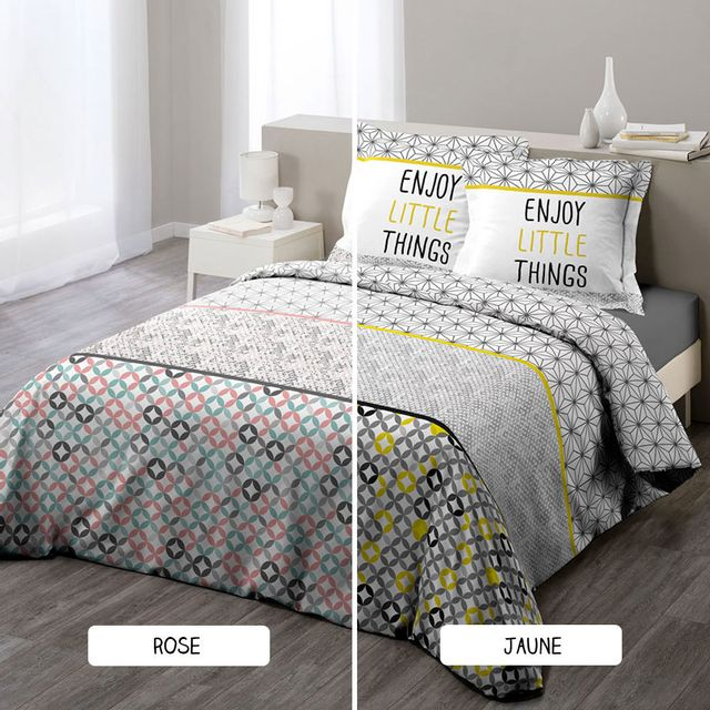 sans marque housse de couette 220 x 240 cm taies remix deux coloris jaune 240cm x. Black Bedroom Furniture Sets. Home Design Ideas