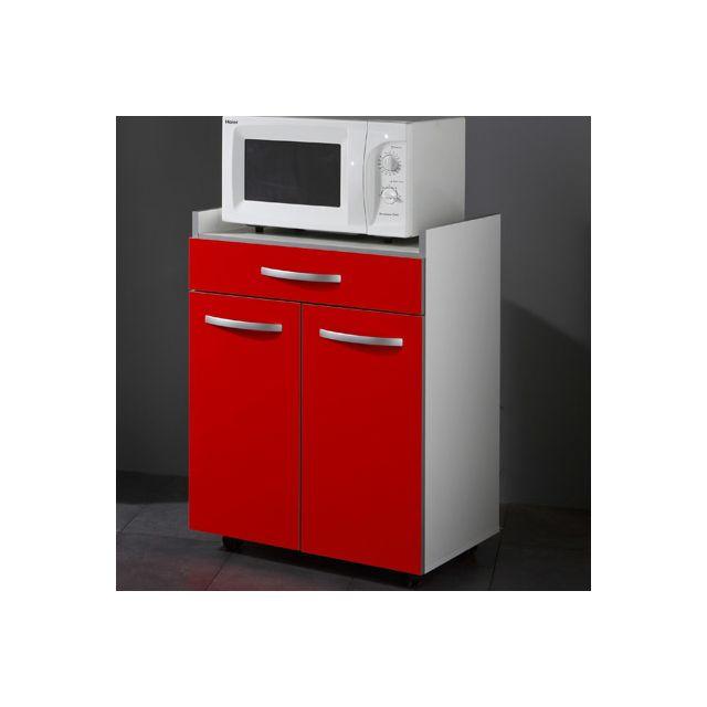 Desserte cuisine 60x45x82cm coloris rouge