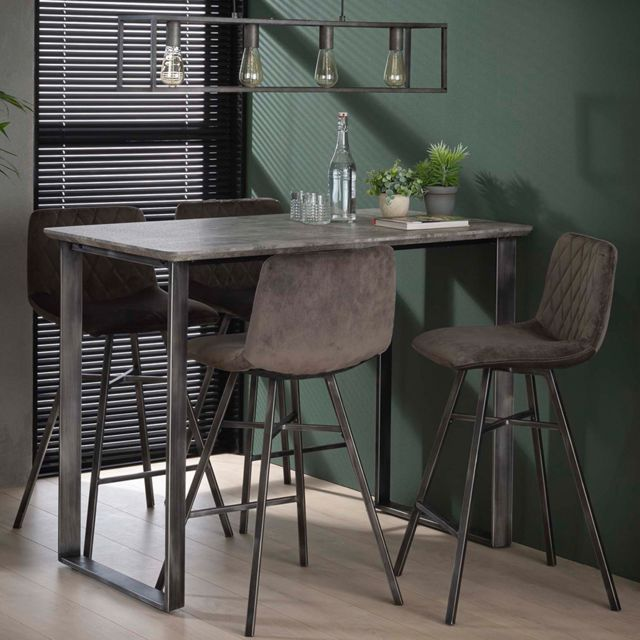 Nouvomeuble Table de bar haute couleur béton et métal Garry