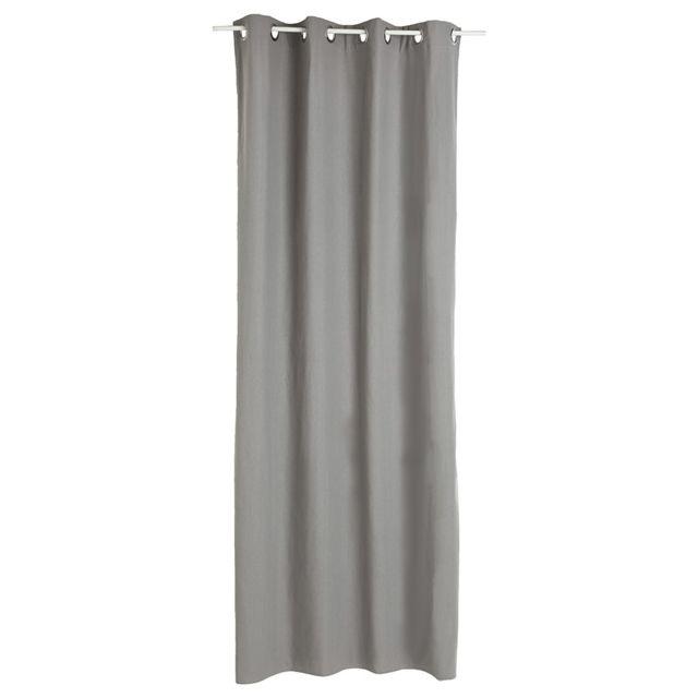 Atmosphera - Lot de 2 rideaux gris à oeillets 135 x 240 cm