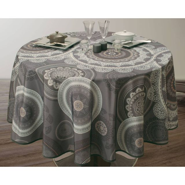 le linge de jules nappe anti taches mandala gris. Black Bedroom Furniture Sets. Home Design Ideas