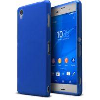 Caseink - Coque Housse Pour Sony Xperia Z3 - Semi Rigide Gel Extra Fine Mat/Brillant - Bleu