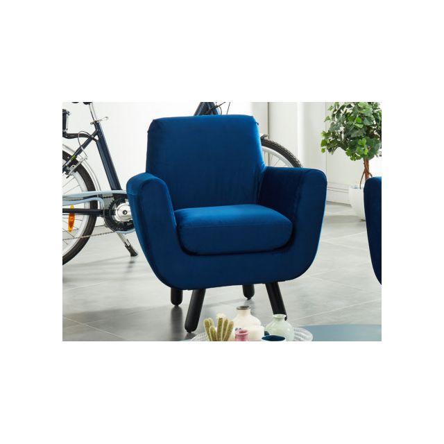 MARQUE GENERIQUE Fauteuil en velours TRAVIATA - Bleu nuit