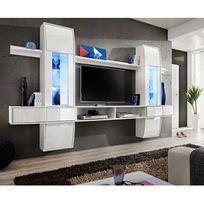 """Paris Prix - Meuble Tv Mural Design """"Comet I"""" Blanc"""