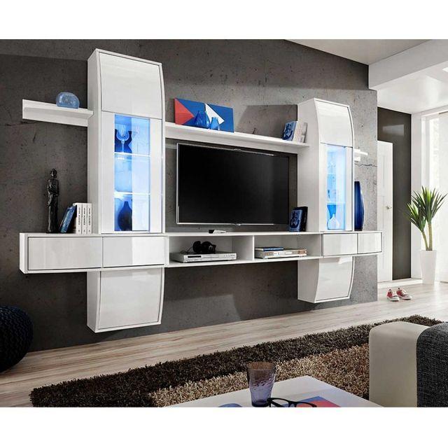 paris prix meuble tv mural design comet i blanc pas cher achat vente meubles tv hi fi. Black Bedroom Furniture Sets. Home Design Ideas