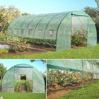 IDMARKET - Grande serre de jardin tunnel toutes saisons 18 m² 180gr/m² verte