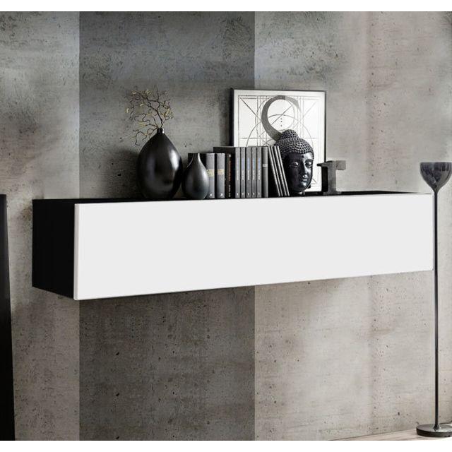 Design Ameublement Armoire mural modèle Krista H-150 150x30cm, noir et blanc