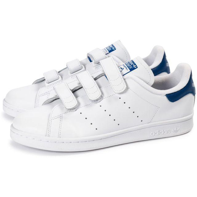 Adidas - Stan Smith Cf Velcro Blanc Bleu - pas cher Achat ...