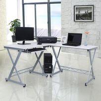 Rocambolesk - Superbe Bureau Informatique Table Informatique Travail Ordinateur Meuble de Bureau pour blanc, 150 x 138 x 75 cm, Lcd402W neuf