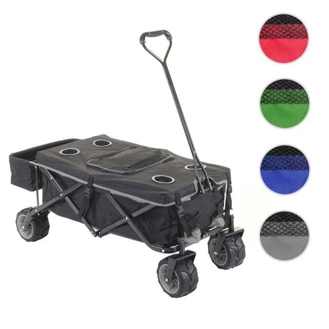 Mendler Chariot pliable Hwc-e62, charette à bras, pneus tout terrain ~ avec recouvrement et sac réfrigérant noir/gris