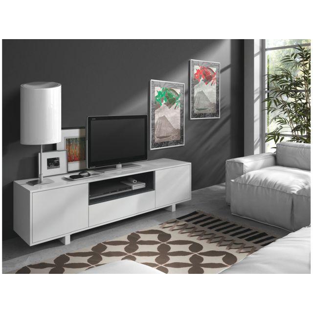 HABITAT ET JARDIN MEUBLE TV BEXUS 2 - 40 X 150 X 47 CM - BLANC BRI