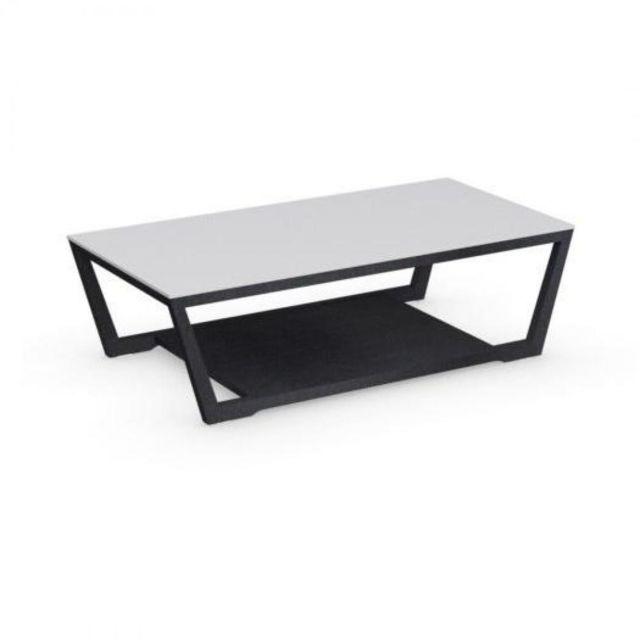 Inside 75 Table basse Element graphite avec plateau en verre blanc