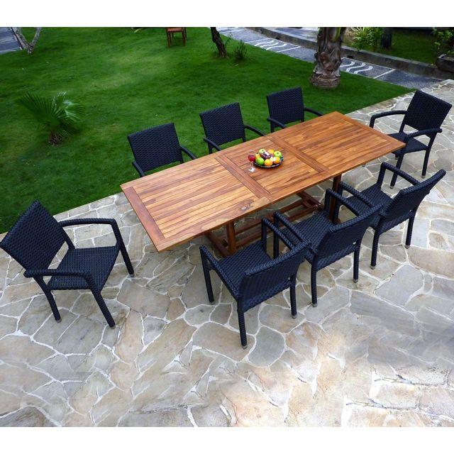 salon de jardin résine tressée et teck huilé 8 places - table + 8 fauteuils