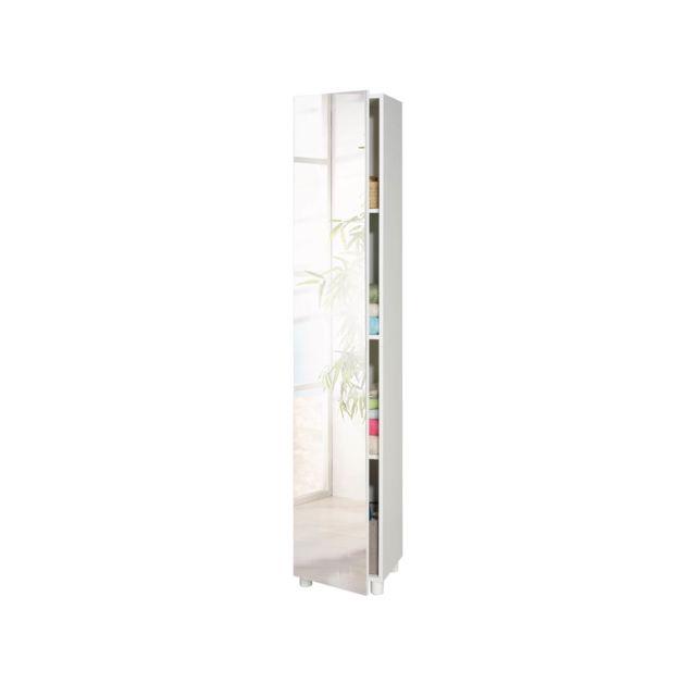 Marque generique meuble de salle de bain colonne bikini 1 porte miroir nc pas cher achat - Meuble colonne salle de bain avec miroir ...