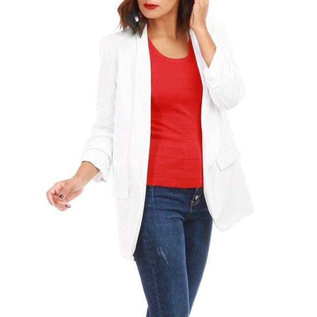 Veste blazer blanc femme pas cher