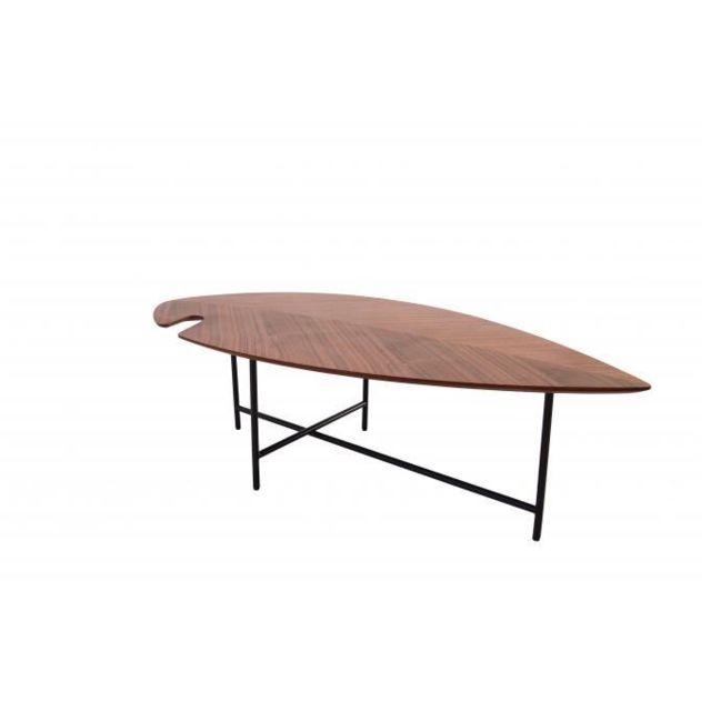 Declikdeco Table Basse Effet Noyer Verni Hoja