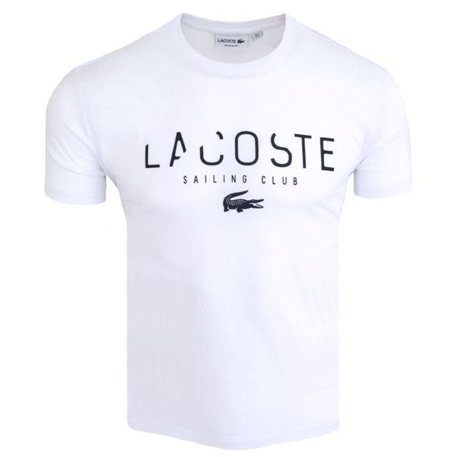 code promo bb572 c68da Lacoste - T-shirt regular fit T-shirt S-club blanc - pas ...