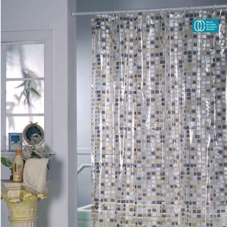 Msv Rideau De Douche Pvc 180x200cm Mosaique Grise Pas Cher Achat