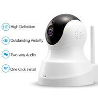 TENVIS - TH661 Caméra de surveillance HD 1280x720P H.264 IP Wifi sans fil - Détection Mouvement Alerte - Vision Nocturne - Son 2 sens - Motorisée - Appli téléphone & Guide en FRANCAIS Blanche