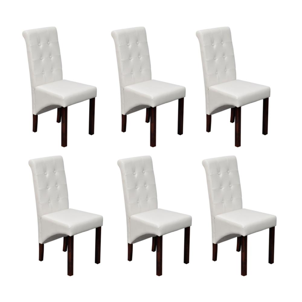 Vidaxl - Chaise antique simili cuir blanc lot de 6