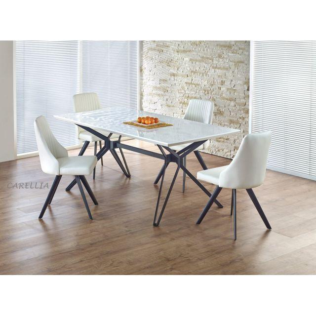 Carellia Table à manger rectangulaire 160 cm x 90 cm x 76 cm
