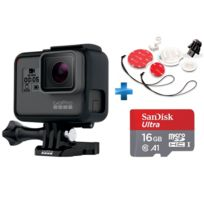 GOPRO - HERO 5 BLACK EDITION + Carte micro SD Ultra 16 Go100MB/s C10 UHS U1 A1 Card+Adaptateur + Fixations pour planches de surf compatible Hero/ hero 2/ Hero 3