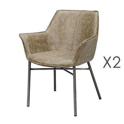 Lot de 2 fauteuils en Pu taupe avec piétement métal gris brossé