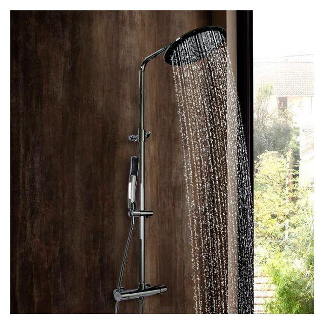essebagno colonne de douche design laiton chrome hauteur r glable avec mitigeur thermostatique. Black Bedroom Furniture Sets. Home Design Ideas