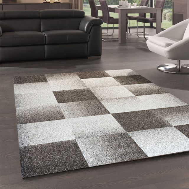 Dezenco Tapis De Salon Moderne Design Chester Carreaux Beige 120