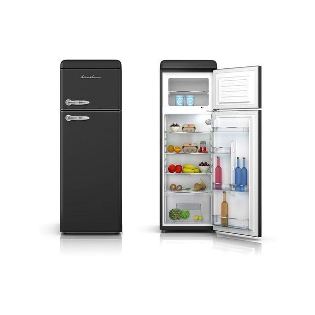 Schaub Lorenz Sl208DDB Réfrigérateur deux portes Vintage 208 Litres 168 litres + 40 Litres coloris noir - A