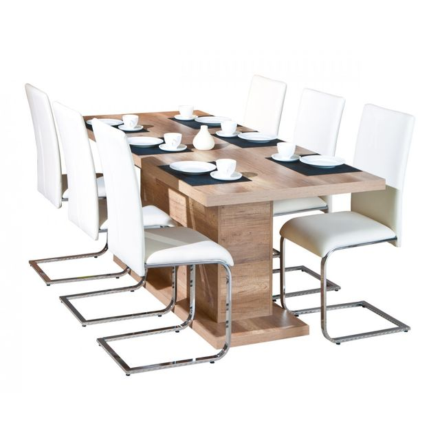 Altobuy Myca Chêne - Table pied central avec allonge