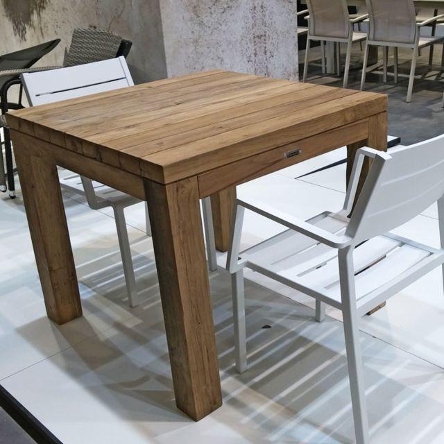 Gecko Jardin Table carrée en teck massif recyclé 90 x 90 cm Callao