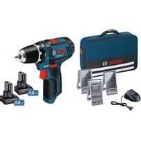 Bosch - Perceuse Visseuse sans fil Gsr 10,8-2-LI / Gsr 12V-15, dans sacoche avec accessoires et 2x 4 Ah accus