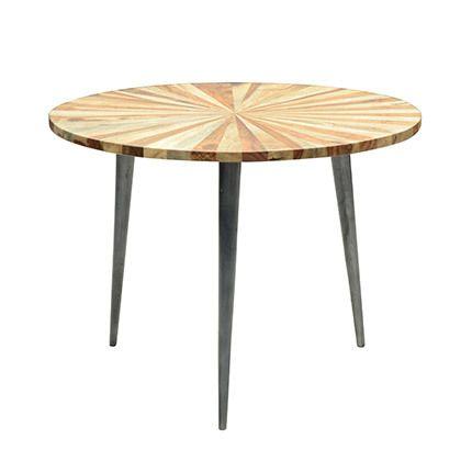 Table basse 60x60x45cm en bois à rayures et pieds acier