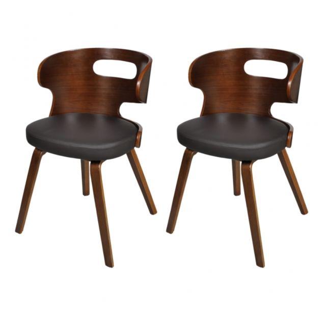 Autre 2 Chaises de cuisine salon salle à manger design noir bois 1902040