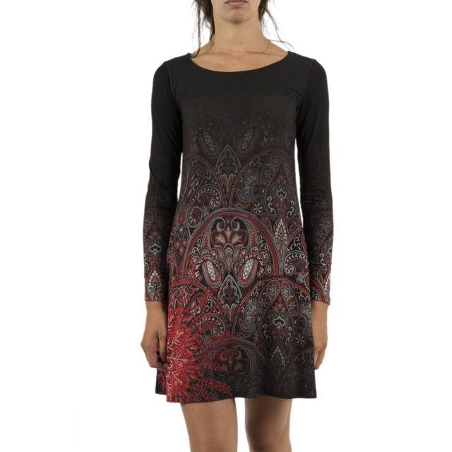 Noir Achat Jaipur Cher 18wwvk12 Desigual Vente Robes Robe Pas UVSpqzM