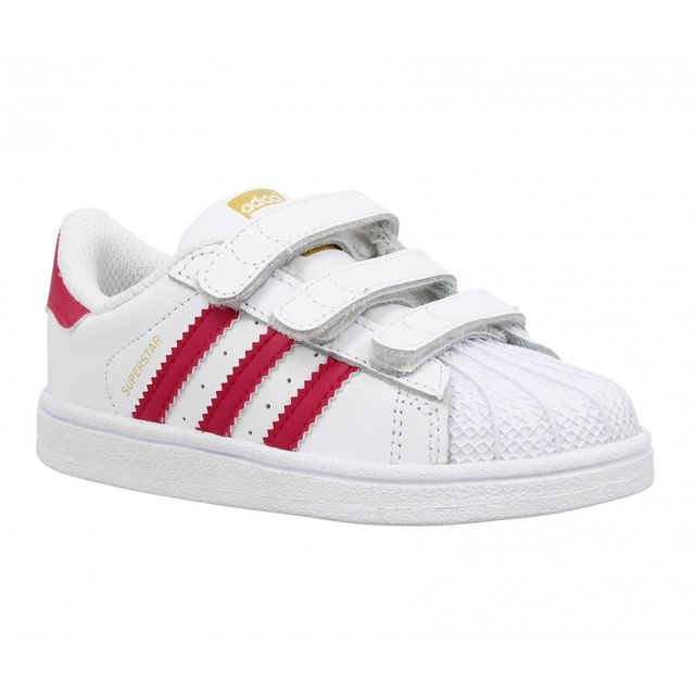 Adidas - Superstar Foundation cuir Enfant-35-Blanc Rose