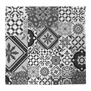 Monbeautapis tapis motifs carreaux de ciment gris noir for Stickers carreaux de ciment pas cher