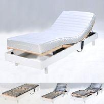 No Name - Sommier relaxation électrique Flexpur 80x200 tête et pied relevable / Blanc