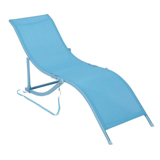 carrefour bain de soleil pliable bleu pas cher achat. Black Bedroom Furniture Sets. Home Design Ideas