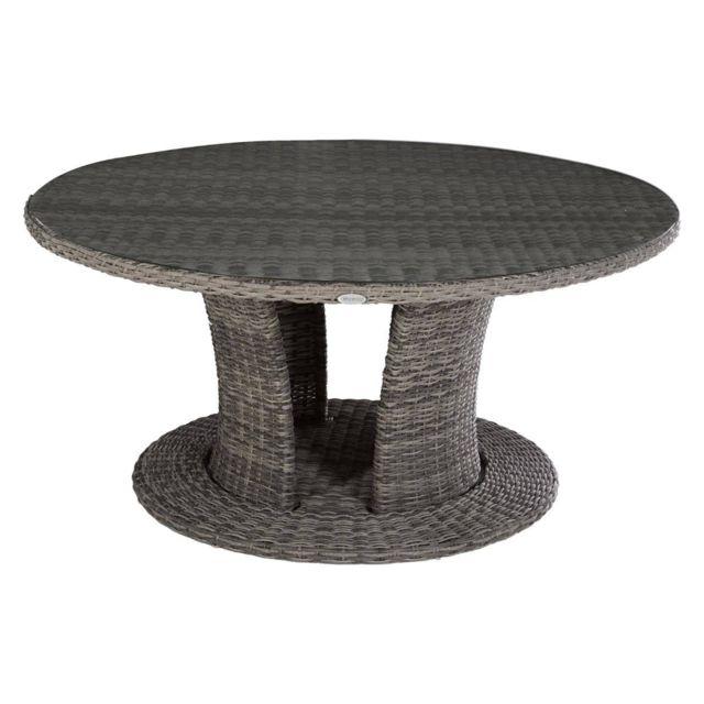 Pegane - Table de jardin ronde en Aluminium et Résine synthétique ...