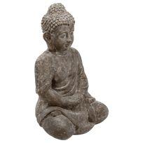 Paris Prix - Statue Bouddha Assis en Ciment 46cm Gris