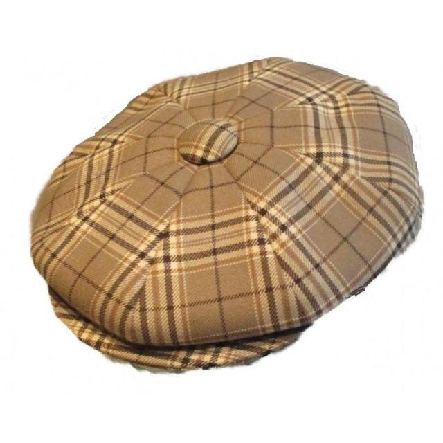 Universel Casquette vintage beige a rayure marron taille 56 cm homme femme enfant rockabilly pin up
