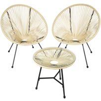 2 Fauteuils Acapulco et 1 Table de Jardin de Salon Design rétro Cadre en  Acier Beige