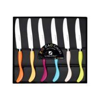 Albert De Thiers - La Table D'ALBERT Set de 6 couteaux Zigzag 24 cm orange, jaune, rose, bleu, beige et vert