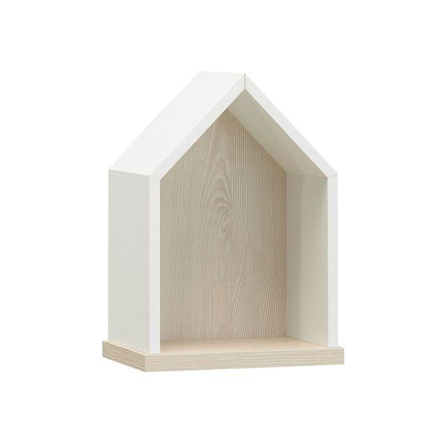Galipette Etagère nichoir finition blanche et décor pin blanchi L23cm Sacha